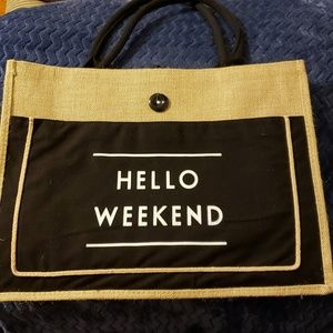 Hello Weekend straw tote bag